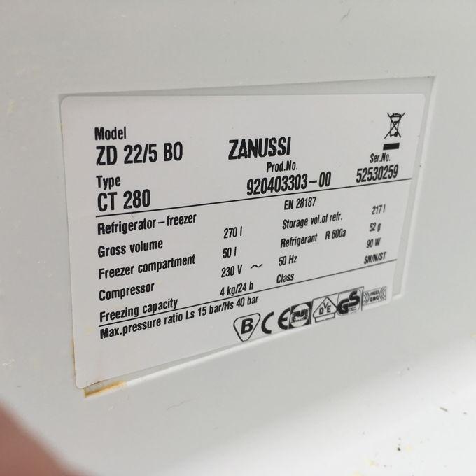 Zanussi ZD 22/5 BO kombinált hűtő cimke