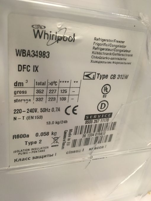 Whirlpool CB 312W alulfagyasztós hűtő cimke